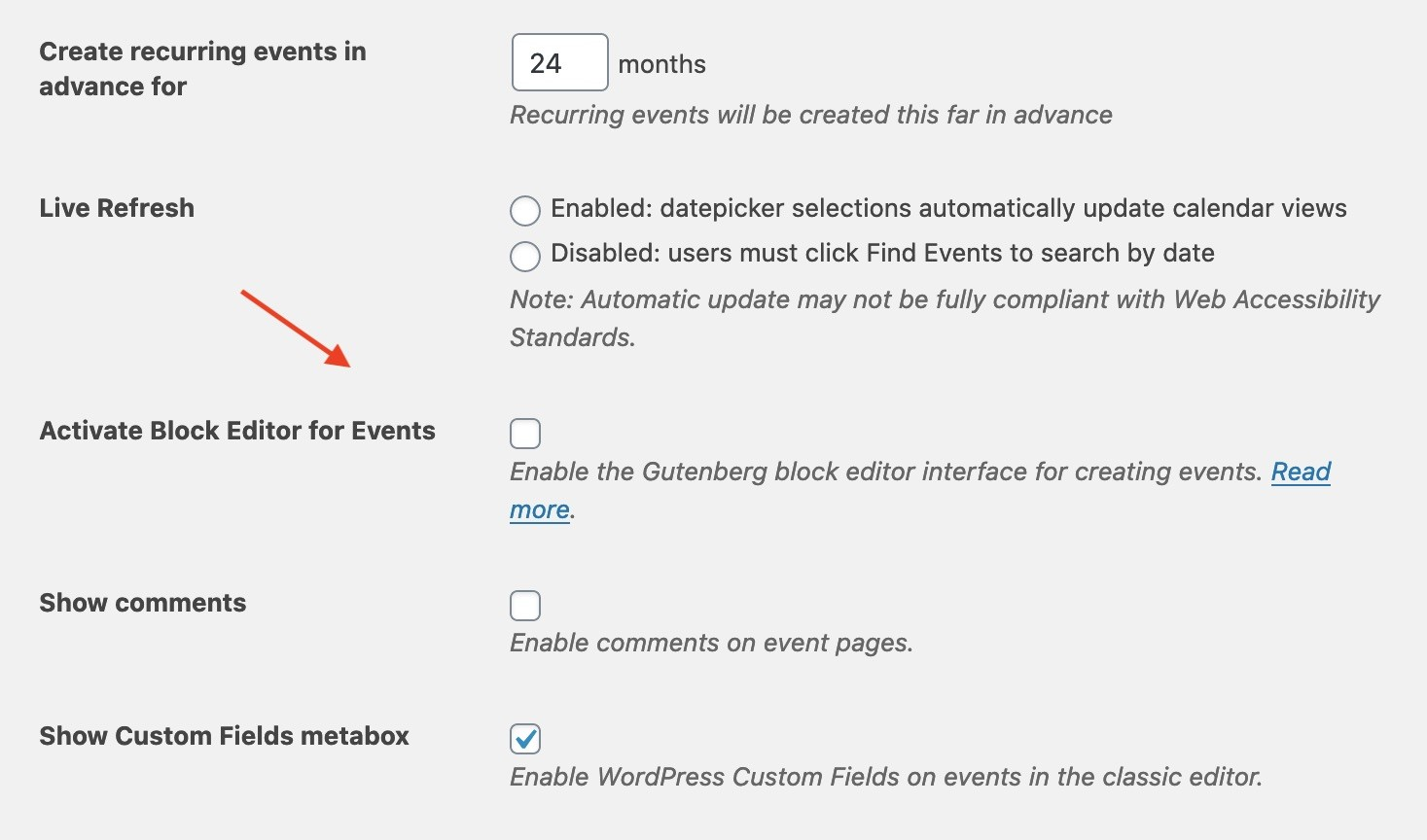 Enable Classic Editor For The Events Calendar